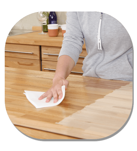 wiping benchtop